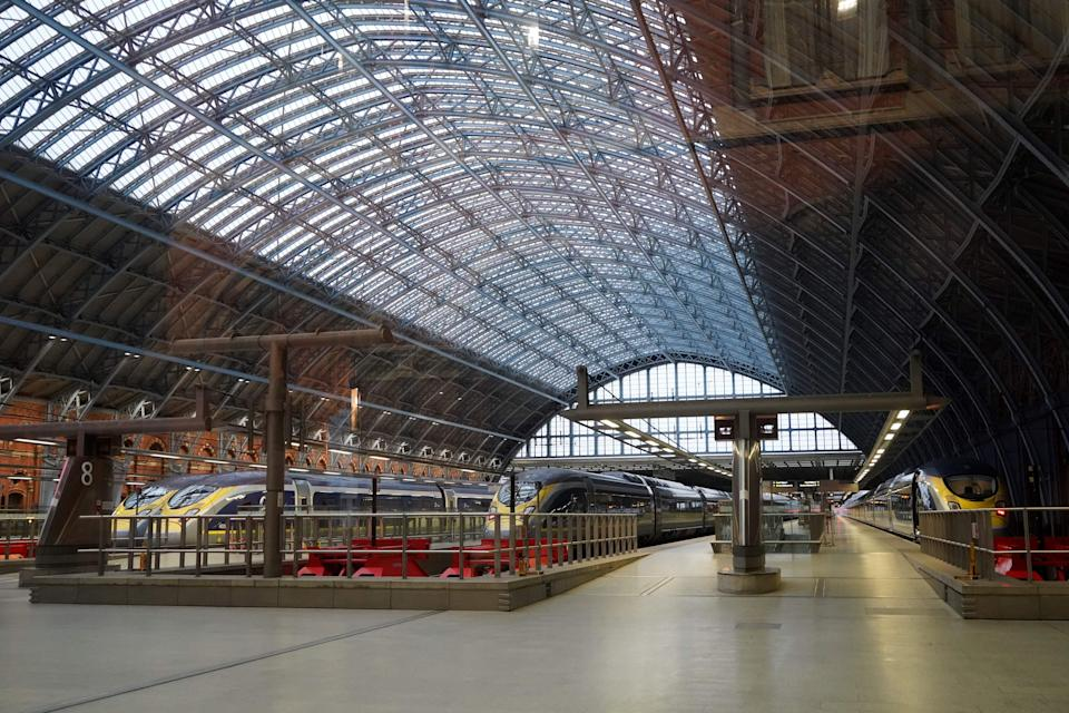 Eurostar train carriages stand at empty platforms at St Pancras International station in London on December 21, 2020, after all services to Europe were cancelled as a string of countries banned travellers arriving from the UK, due to the rapid spread of a  more-infectious new coronavirus strain. - The British government is set Monday to hold a crisis meeting of its COBR emergencies committee after a string of countries banned travellers arriving from the UK and crucial transit country France blocked most freight. (Photo by Niklas HALLE'N / AFP) (Photo by NIKLAS HALLE'N/AFP via Getty Images)