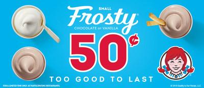 Wendy's Frosty treats are thick, smooth and sweet – you're sure to fall in love! Grab two quarters and dip in to your local Wendy's to get your 50¢ Frosty fix today.