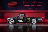 """<p>Ken Block is selling his one-off Hoonitruck. Built to melt tires in Gymkhana 10, it uses a 914-horsepower version of the 3.5-liter EcoBoost twin-turbo V-6 found in Ford's GT Le Mans car. Modeled after a 1977 Ford F-150 but built on a tube-frame chassis, it uses a custom all-wheel-drive system and sports Fifteen51 wheels with real bead locks. </p><p><a class=""""link rapid-noclick-resp"""" href=""""https://www.roadandtrack.com/news/a36719816/ken-block-hoonitruck-for-sale/"""" rel=""""nofollow noopener"""" target=""""_blank"""" data-ylk=""""slk:See the full story right here"""">See the full story right here</a></p>"""