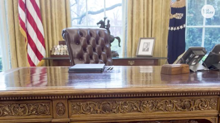 The Resolute Desk is an iconic fixture in the White House Oval Office.