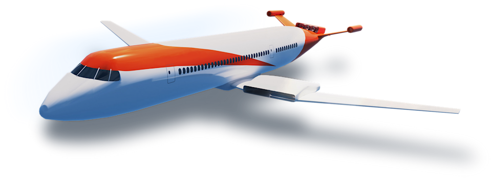 CG render of a plane using Wright's engines