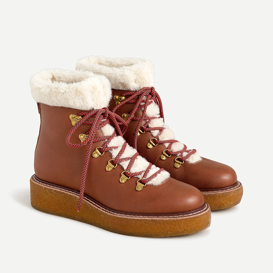 "<br><br><strong>J.Crew</strong> Leather Winter Boots, $, available at <a href=""https://go.skimresources.com/?id=30283X879131&url=https%3A%2F%2Fwww.jcrew.com%2Fp%2Fwomens_feature%2Fthe_gift_guide%2Fgiftguide%2Fleather-winter-boots-with-wedge-crepe-sole%2FAT828%3Fcolor_name%3Dwarm-sepia"" rel=""nofollow noopener"" target=""_blank"" data-ylk=""slk:J.Crew"" class=""link rapid-noclick-resp"">J.Crew</a>"