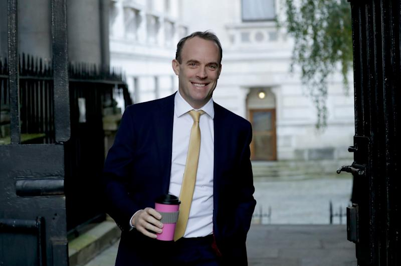 Dominic Raab arrives for a cabinet meeting at 10 Downing Street (AP)