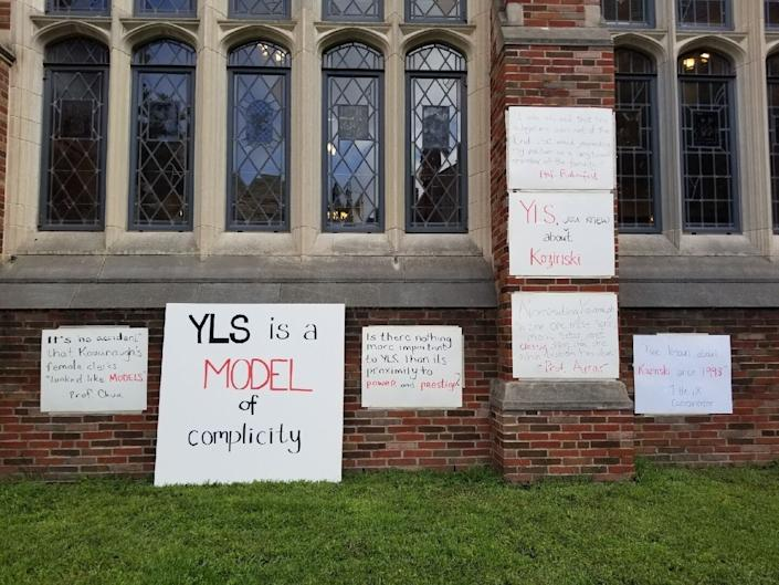 """Student signs accuse Yale Law School's administrators of """"complicity"""" in sexual misconduct. (Photo: Courtesy Yale Law School students organizing protests)"""