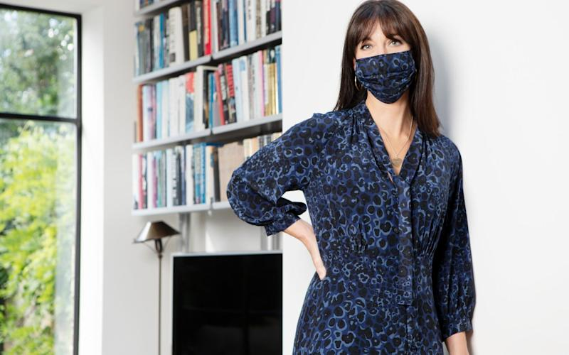 Samantha Cameron in her matching dress and face mask - FOR THE TELEGRAPH/Rii Schroer