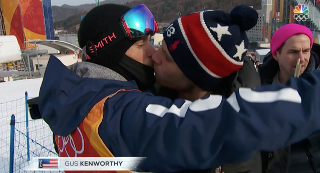Gus Kenworthy shared a kiss with his boyfriend, Matt Wilkas, before the slopestyle competition on Sunday. (NBC)