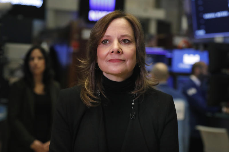 FILE - In this Jan. 11, 2019, file photo Chairwoman and CEO of General Motors Mary Barra is interviewed on the floor of the New York Stock Exchange. General Motors and Korea's LG Chem have formed a joint venture to build an electric vehicle battery cell factory near Lordstown, Ohio, east of Cleveland. (AP Photo/Richard Drew, File)