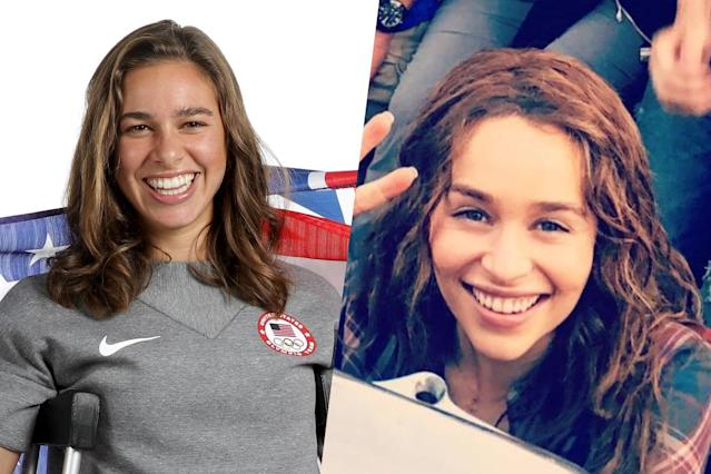 <p>American American runner Abbey D'Agostino (left) and Game of Thrones actress Emilia Clarke (right). </p>