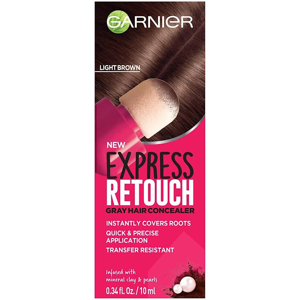 """<p><strong>Garnier</strong></p><p>amazon.com</p><p><strong>$15.30</strong></p><p><a href=""""https://www.amazon.com/dp/B07NSRZ64P?tag=syn-yahoo-20&ascsubtag=%5Bartid%7C10055.g.792%5Bsrc%7Cyahoo-us"""" rel=""""nofollow noopener"""" target=""""_blank"""" data-ylk=""""slk:Shop Now"""" class=""""link rapid-noclick-resp"""">Shop Now</a></p><p>Hide grays between coloring with this <a href=""""https://www.goodhousekeeping.com/beauty-products/a32215214/best-beauty-awards-2020/"""" rel=""""nofollow noopener"""" target=""""_blank"""" data-ylk=""""slk:GH Beauty Award"""" class=""""link rapid-noclick-resp"""">GH Beauty Award</a>-winning Garnier <a href=""""https://www.goodhousekeeping.com/beauty-products/hair-dye-reviews/g32240218/best-root-touch-up-hair-products/"""" rel=""""nofollow noopener"""" target=""""_blank"""" data-ylk=""""slk:root cover-up"""" class=""""link rapid-noclick-resp"""">root cover-up</a>, with a sponge applicator to precisely apply pigment. In GH Beauty Lab evaluations, it <strong>scored high with testers for not transferring or flaking, and staying in place</strong>. """"Easy to use and very targeted,"""" a tester reported. </p>"""