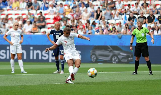 England's Nikita Parris converted from the penalty spot after the type of handball that nobody wants to see called. (Getty)