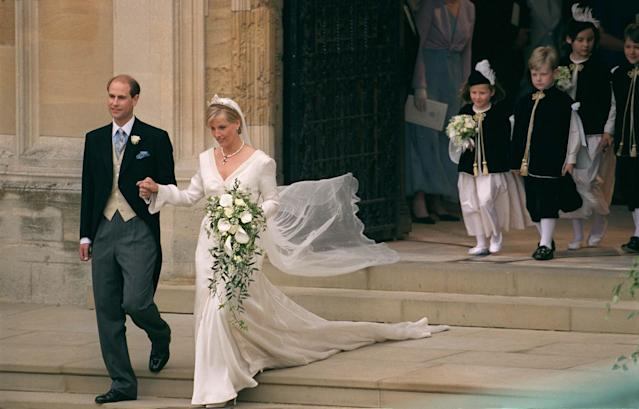 Sophie, Countess of Wessex, tied the knot with Prince Edward in a dress by Samantha Shaw in June 1999. (Getty Images)