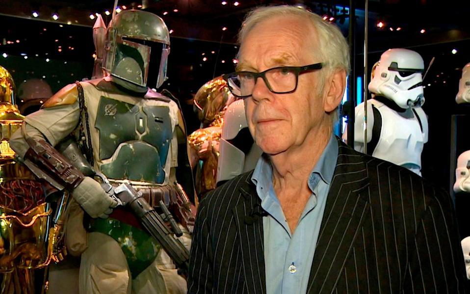 Jeremy Bulloch in front of the costume he wore while playing Boba Fett - AP