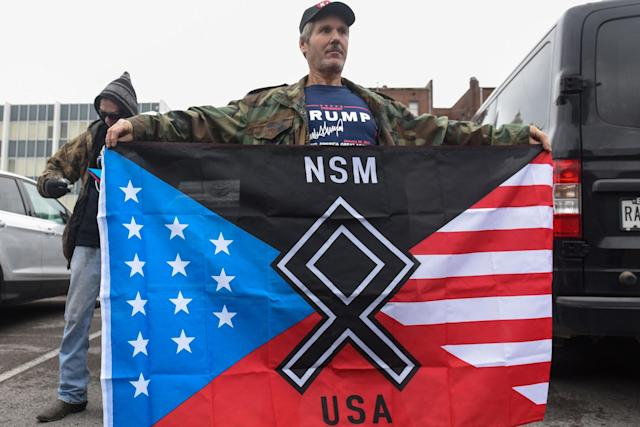 """<p>A member of a group called the National Socialist Movement participates in a """"White Lives Matter"""" rally in Shelbyville, Tenn., Oct. 28, 2017. (Photo: Stephanie Keith/Reuters) </p>"""