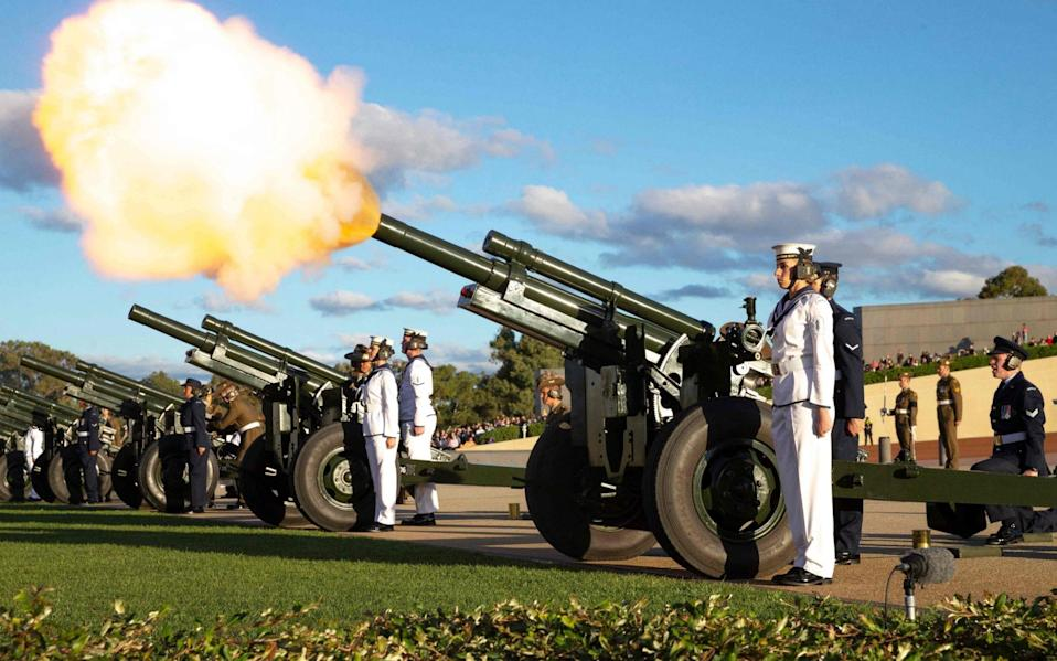 A 41-gun salute rang outside of Parliament House in Canberra on Saturday - LSIS KIEREN WHITELEY/AFP