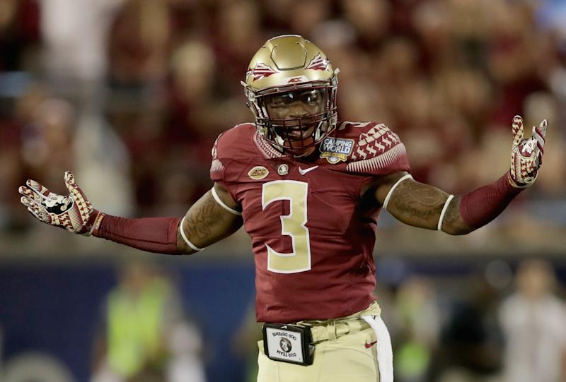 ORLANDO, FL - SEPTEMBER 05: Derwin James #3 of the Florida State Seminoles reacts after a play against the Mississippi Rebels during the Camping World Kickoff at Camping World Stadium on September 5, 2016 in Orlando, Florida. (Photo by Streeter Lecka/Getty Images)