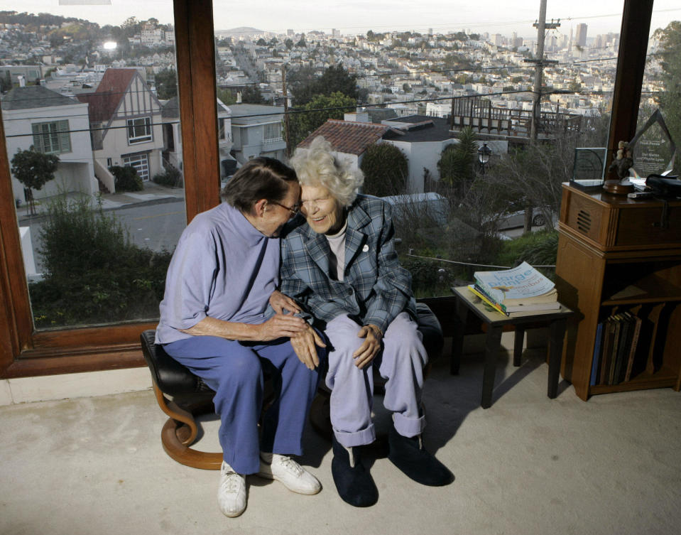 In this March 3, 2008, file photo, Phyllis Lyon, left, and Del Martin are photographed at home in San Francisco. The hilltop cottage of the couple that became the first same-sex partners to legally marry in San Francisco has become a city landmark. The San Francisco Board of Supervisors voted unanimously Tuesday, May 4, 2021, to give the 651 Duncan St. home of the lesbian activists landmark status. The home in the Noe Valley neighborhood is expected to become the first lesbian landmark in the western United States, the San Francisco Chronicle reported. / Credit: Marcio Jose Sanchez / AP