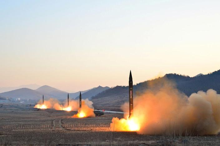 <p>North Korean leader Kim Jong Un supervises a ballistic rocket launching drill of Hwasong artillery units of the Strategic Force of the KPA on the spot in this undated photo. (KCNA/Reuters) </p>