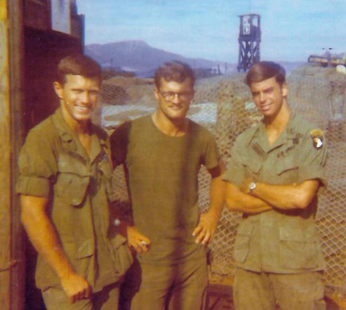 From left, Bob Seitz, Bob St. Onge and Bill Taylor, servicemen in 101st Airborne's 2nd Battalion, in Vietnam, spring 1971. (Photo courtesy of Bob Seitz)