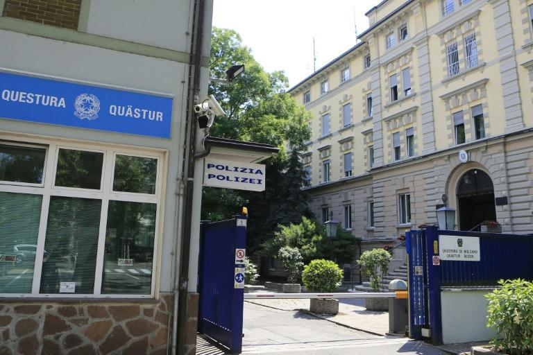 A view of the police station of Bolzano, where Argentinian sports marketing executive Alejandro Burzaco, who has been indicted by US authorities in the FIFA corruption scandal, turned himself in, on June 10, 2015