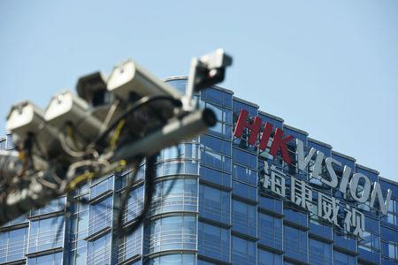 Surveillance cameras are seen near the headquarters of Chinese video surveillance firm Hikvision in Hangzhou, Zhejiang province, China May 22, 2019. REUTERS/Stringer