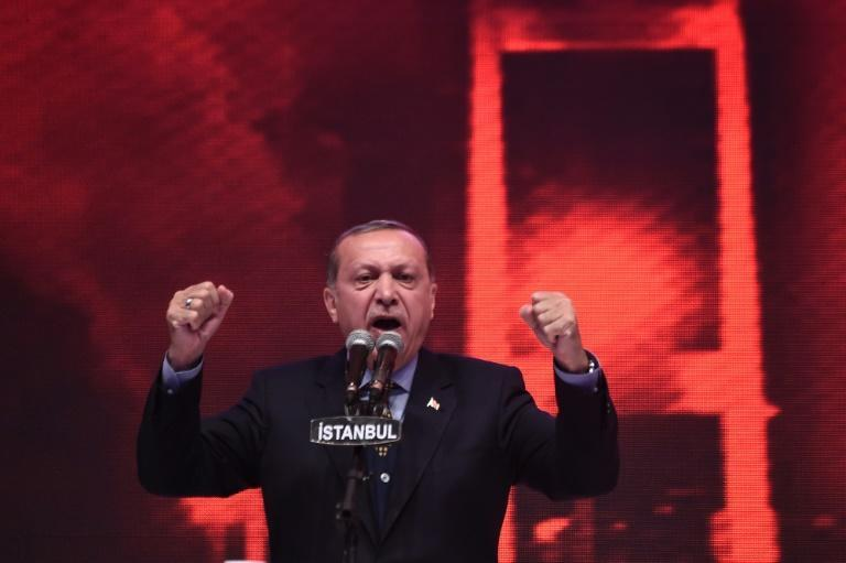 """Turkish President Recep Tayyip Erdogan, seen addressing a campaign rally, is hoping to be the beneficiary of a """"yes"""" vote he says will strengthen the nation"""