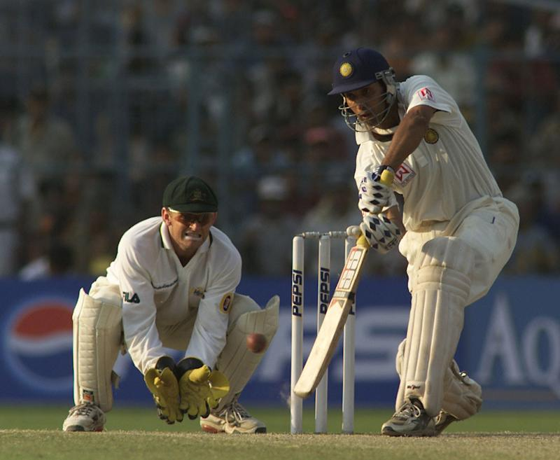VVS Laxman of India hits out, during day four of the 2nd Test between India and Australia played at Eden Gardens, Calcutta, India. DIGITAL IMAGE Mandatory Credit: Hamish Blair/ALLSPORT