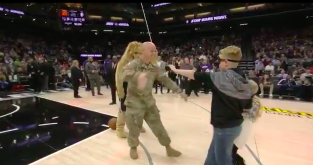 Veteran Shawn Sullivan surprised his kids at a Kings game. (Pic via @NBA on Twitter)