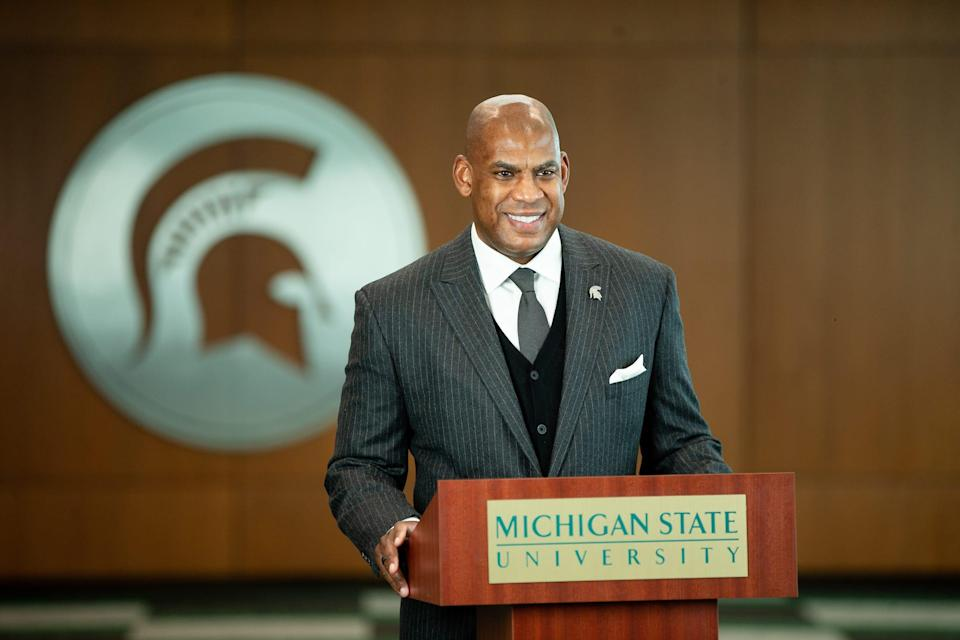 Michigan State coach Mel Tucker during the news conference to announce Mat Ishbia's $32 million donation to the university on Friday, Feb. 5, 2021, in East Lansing.