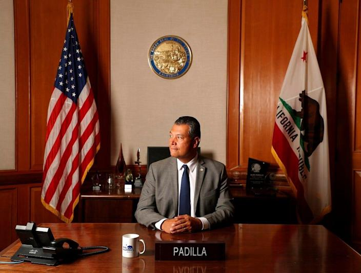 Secretary of State Alex Padilla is photographed in his office on Monday, July 29, 2019, in Sacramento, Calif.