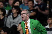 An Ireland fan yells as he reacts during the Rugby World Cup quarterfinal match at Tokyo Stadium between New Zealand and Ireland in Tokyo, Japan, Saturday, Oct. 19, 2019. (AP Photo/Jae C. Hong)