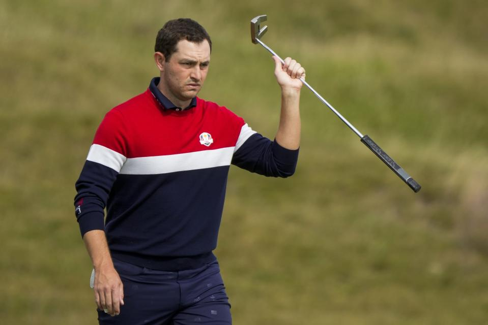 Team USA's Patrick Cantlay walks to the fourth tee during a singles match the Ryder Cup at the Whistling Straits Golf Course Sunday, Sept. 26, 2021, in Sheboygan, Wis. (AP Photo/Charlie Neibergall)