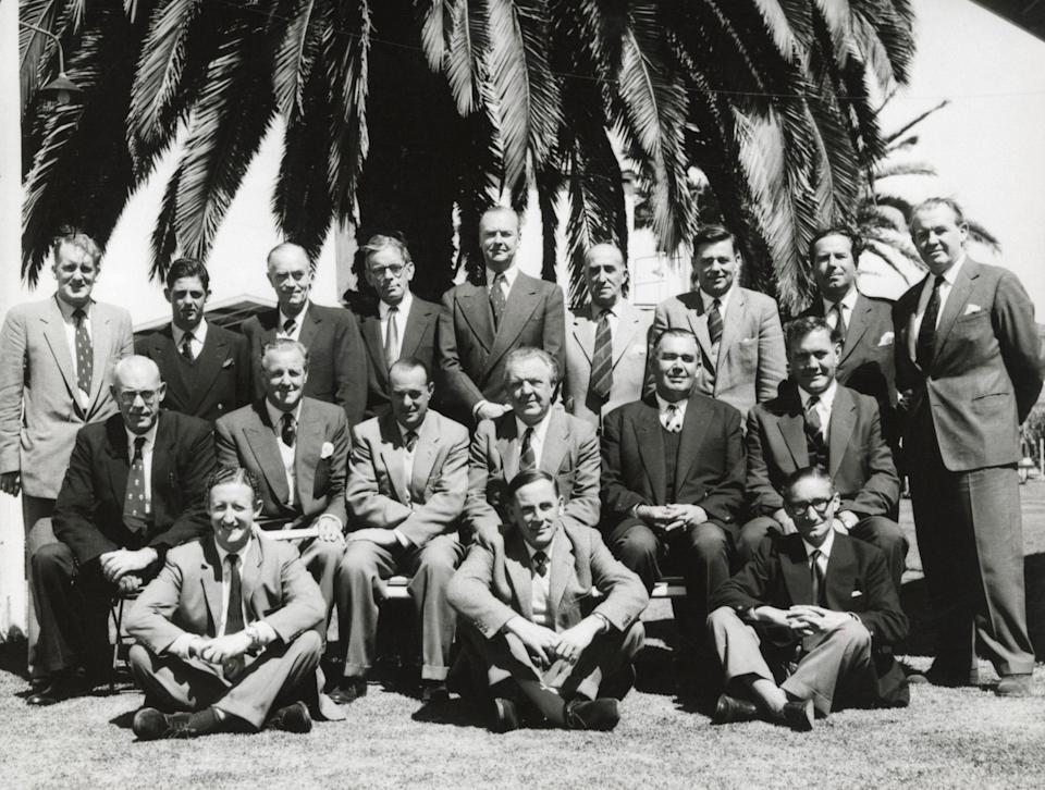Woodcock, back row, second left, with press and broadcast colleagues on England's 1958-59 tour to Australia; his mentor EW Swanton, the Telegraph's man, is in the middle row, second right, with Alec Bedser to his left - Ken Kelly/Popperfoto via Getty Images