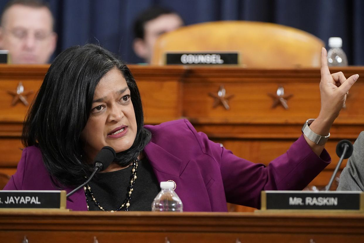 Rep.  Pramila Jayapal (D-WA) speaks as the House Judiciary Committee continues its markup of articles of impeachment against U.S. President Donald Trump on Capitol Hill in Washington, U.S., December 12, 2019. (Photo: Joshua Roberts/Reuters)