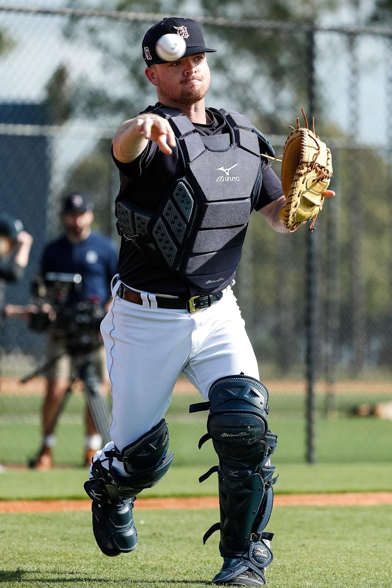 Catcher Jake Rogers practices during Detroit Tigers spring training at TigerTown in Lakeland, Fla., Monday, Feb. 17, 2020.