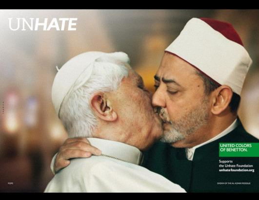 Other world figures include Pope Benedict XVI and Dr. Ahmed al Tayyeb, the grand sheikh of Cairo's Al Azhar Mosque. This image was pulled from the campaign after a complaint by the Vatican
