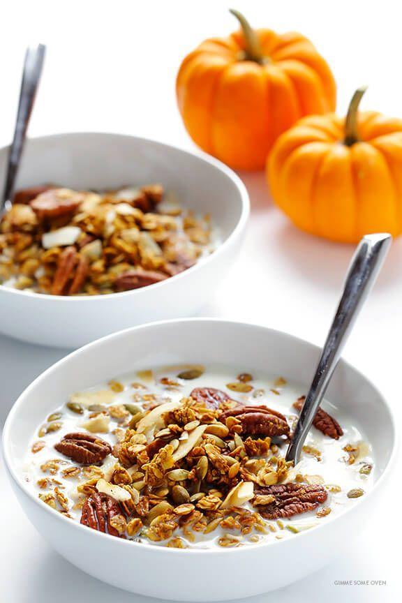 """<p>Naturally sweetened with maple syrup and tossed together with real pumpkin, nuts, and pumpkin spice, this homemade granola is so divine! Serve it with milk or yogurt for a delicious fall breakfast. </p><p><strong>Get the recipe at <a href=""""https://www.gimmesomeoven.com/pumpkin-spice-granola/"""" rel=""""nofollow noopener"""" target=""""_blank"""" data-ylk=""""slk:Gimme Some Oven"""" class=""""link rapid-noclick-resp"""">Gimme Some Oven</a>. </strong></p><p><a class=""""link rapid-noclick-resp"""" href=""""https://go.redirectingat.com?id=74968X1596630&url=https%3A%2F%2Fwww.walmart.com%2Fsearch%2F%3Fquery%3Dpioneer%2Bwoman%2Bbaking%2Bsheets&sref=https%3A%2F%2Fwww.thepioneerwoman.com%2Ffood-cooking%2Fmeals-menus%2Fg37022645%2Fhealthy-pumpkin-recipes%2F"""" rel=""""nofollow noopener"""" target=""""_blank"""" data-ylk=""""slk:SHOP BAKING SHEETS"""">SHOP BAKING SHEETS</a></p>"""