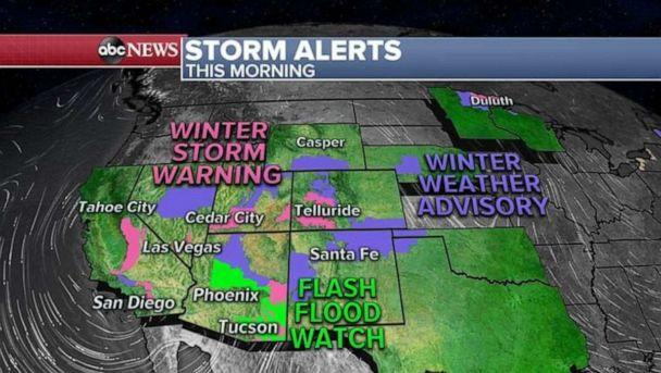 PHOTO: Storm Alerts continue for 14 states this morning from California to Maine as a complex storm system moves through the US from coast to coast. (ABC News)