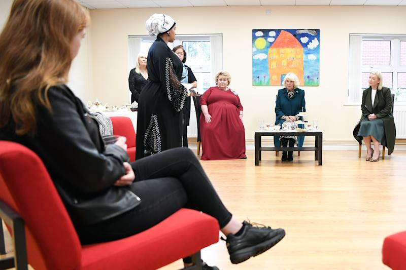 BELFAST, NORTHERN IRELAND - SEPTEMBER 30: Camilla, Duchess of Cornwall during a visit to the Belfast & Lisburn Women's Aid on September 30, 2020 in Belfast, United Kingdom. The Duchess of Cornwall, a long-standing supporter of domestic abuse charities in the UK and overseas, met staff, supporters and service users to hear of the challenges they have faced in recent months. (Photo by Tim Rooke - WPA Pool/Getty Images)