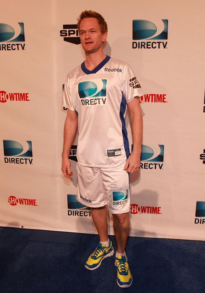 Neil Patrick Harris arrives at the DirecTV Celebrity Beach Bowl in Indianapolis.
