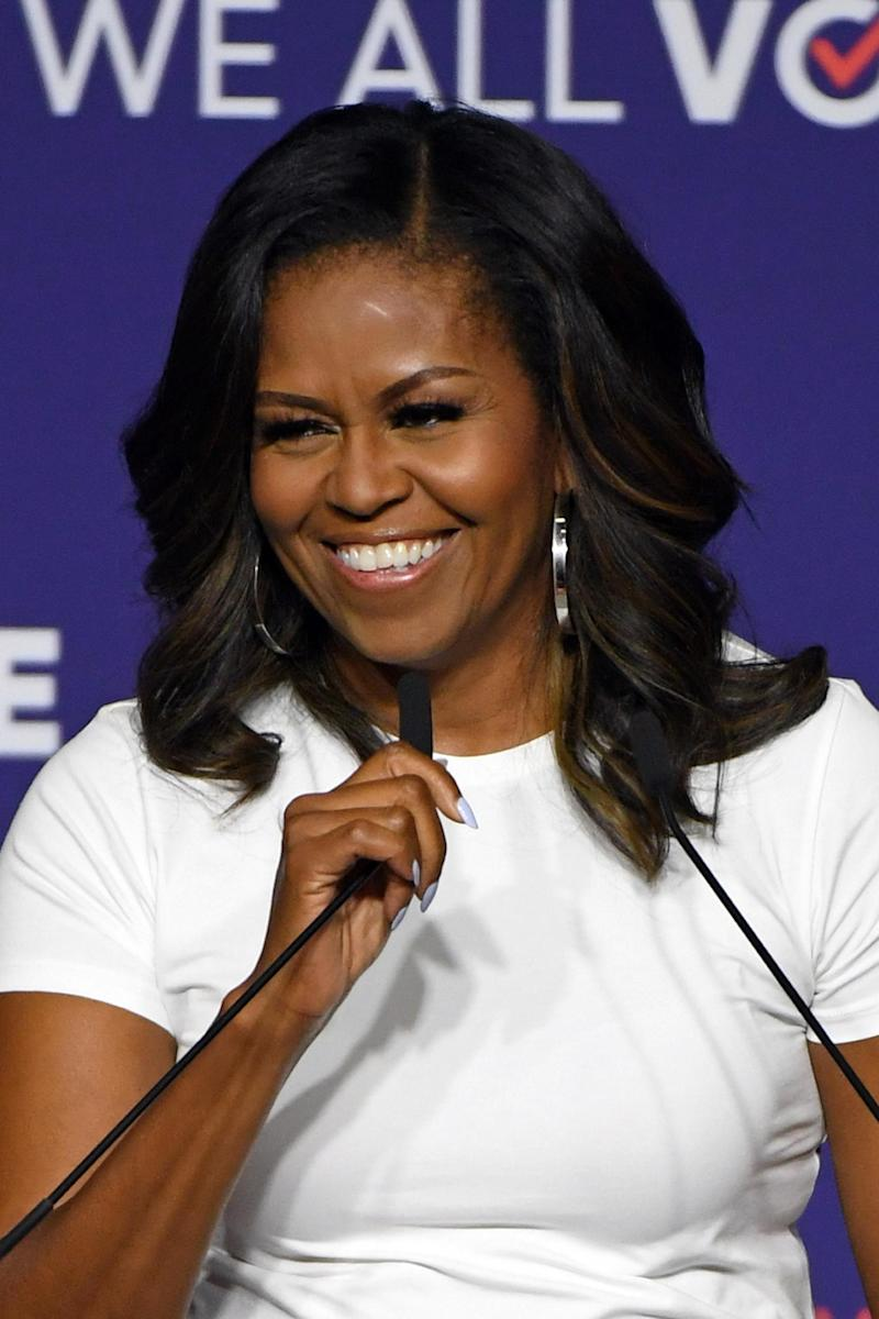 Michelle Obama speaking at the 'When We All Vote' Rally In Las Vegas. (Getty Images)