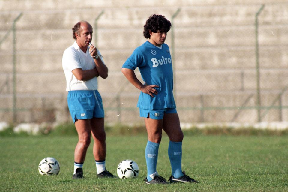 NAPLES, ITALY - OCTOBER 17: Diego Maradona and head coach Ottavio Bianchi of Napoli are seen during a training session at the Centro Paradiso di Soccavo on October 17, 1986 in Naples, Italy. (Photo by Etsuo Hara/Getty Images) (Photo: Etsuo Hara via Getty Images)