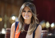 The US First Lady Melania Trump, during a visit to the Royal Hospital, Chelsea, London.