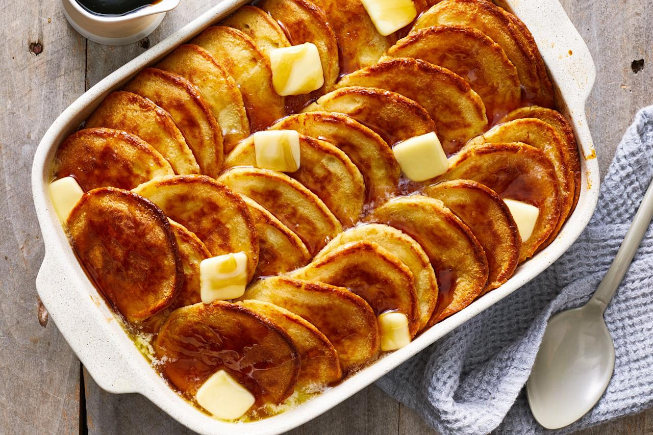 """<p><strong>Recipe: <a href=""""https://www.southernliving.com/recipes/pancake-casserole"""">Pancake Casserole</a></strong></p> <p>A drizzle of maple syrup and a few pats of butter are all you need to put the finishing touches on this simple, delicious pancake casserole.</p>"""