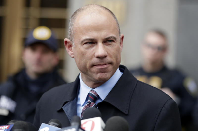 FILE - In this Dec. 12, 2018, file photo, attorney Michael Avenatti speaks outside court about Michael Cohen's sentencing in New York. Federal prosecutors have charged an IRS employee with leaking banking records of President Donald Trump's former personal lawyer, Michael Cohen, the U.S. attorney's office in San Francisco said Thursday, Feb. 21, 2019. John C. Fry, an investigative analyst for the IRS's law enforcement arm, was charged on Feb. 4 with unlawful disclosure of suspicious activity reports, prosecutors said. He acknowledged releasing the information to attorney Michael Avenatti, the affidavit says. (AP Photo/Julio Cortez, File)