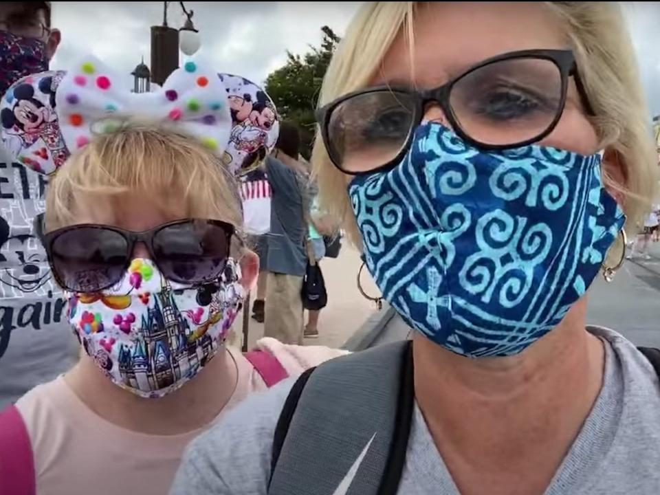 The Disney fanatics livestreamed their visit to the park, which included a health scare.