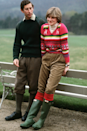 <p>Looking every bit the country lass, Diana wore a colourful knit, oversized trousers and forest green Wellington boots for a trip to Balmoral with Prince Charles prior to their wedding.</p>