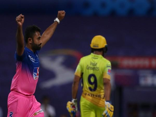 Rajasthan Royals' spinner Shreyas Gopal in action against CSK (Photo/ iplt20.com)