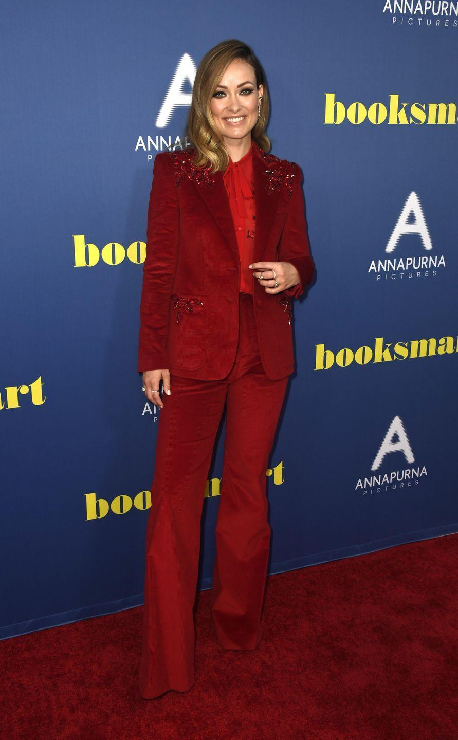 <p>The director looked stunning in a deep red bedazzled Dundas suit with a red button-up shirt at the premiere. <br></p>