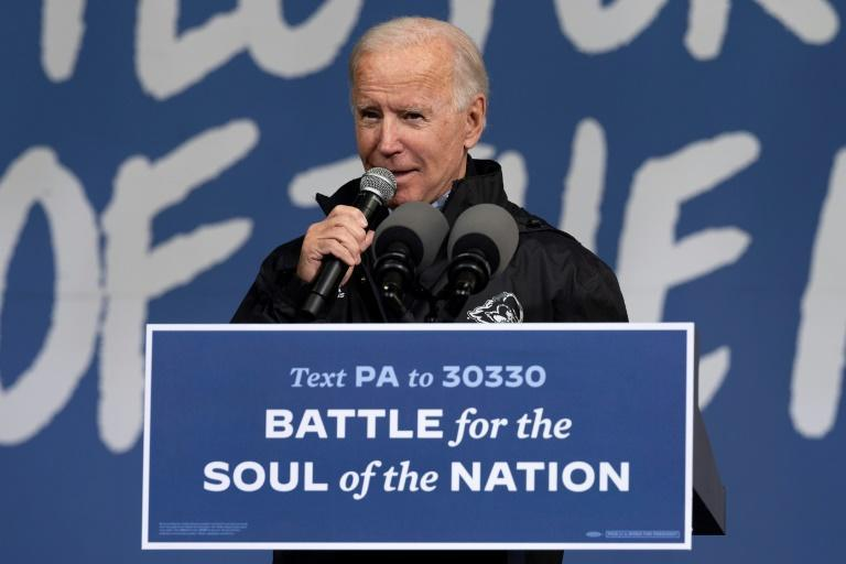 Biden speaks at an event in Pennsylvania on November 1, 2020