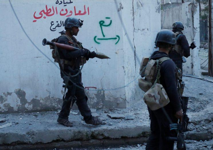 Iraqi special forces soldiers searching for Islamic State fighters in Mosul, Iraq.